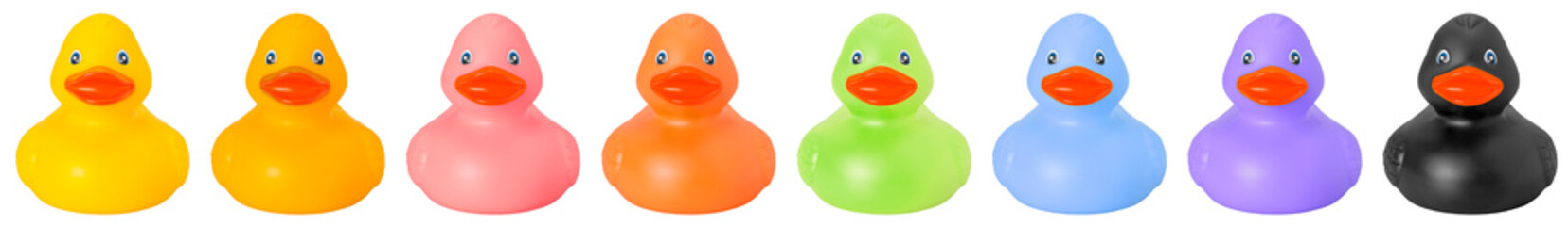 Toy rubber colored ducks isolated on white front side