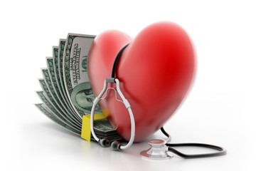 heart with stethoscope and money