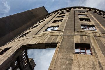 Old industrial brownfield building, gasometer in Dresden