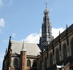 Bavo Church from 1483 in center of Haarlem