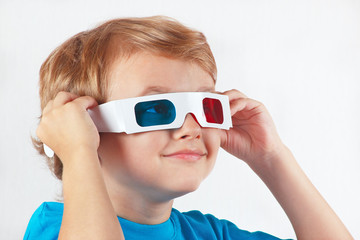 Little funny boy in stereo glasses