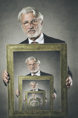 Old man shows his surreal portrait