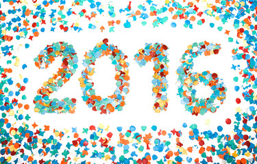 Carnival 2016 date confetti isolated