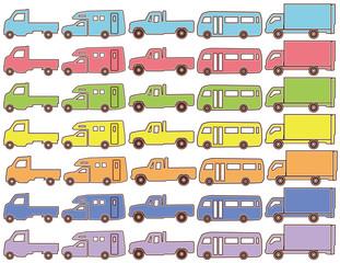 トラックとバスとキャンピングカーのピクトグラム(カラー)