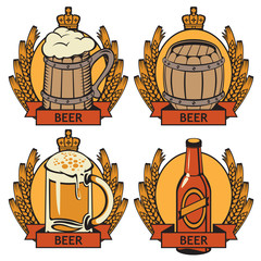 set of labels for beer bottle, glass and cask