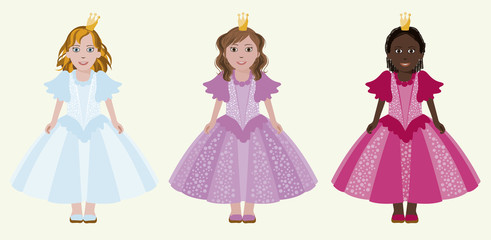 Three little  princess, vector illustration