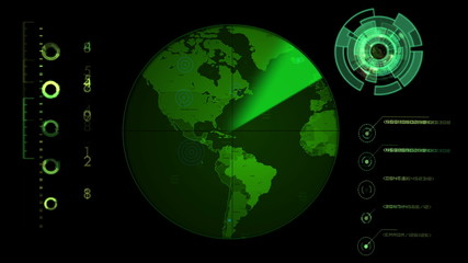 Radar screen displaying continents. Seamless Looping