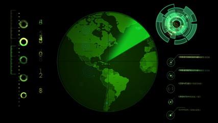 Radar screen displaying continents. Seamless Looping