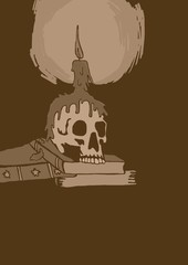 Skull and candle vintage