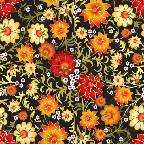 abstract seamless red floral ornament isolated on a black