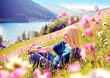 girl relaxing in a - meadow 06
