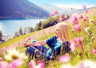 girl relaxing in a - meadow 06
