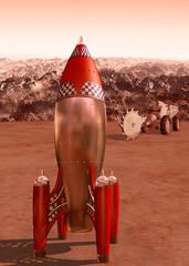 Retro rocket on Mars
