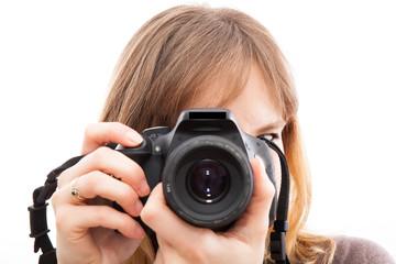 jeune photographe en action