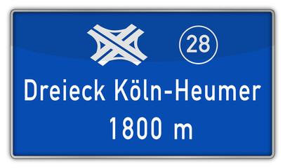 Hinweisschild auf A3, Dreieck Köln-Heumar