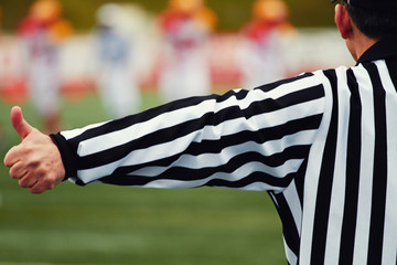 Referee of the american football on the field