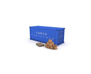 container blu con pacchi e pallets