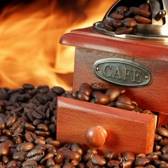 Old Coffee Grinder and Beans