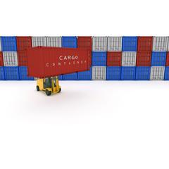 fila di container con muletto