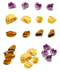 Isolated image of mineral opal, amethyst and tiger eye