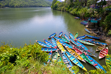 Colorful boats on Phewa Lake, Pokhara, Nepal