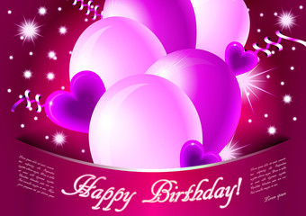 Pink/purple happy birthday card with glossy balloons