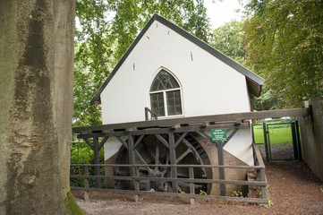 Watermill with paddle wheel in forest