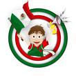 Mexico Soccer Fan Flag Cartoon