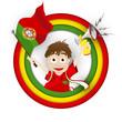 Portugal Soccer Fan Flag Cartoon
