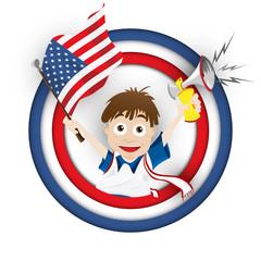 USA Soccer Fan Flag Cartoon