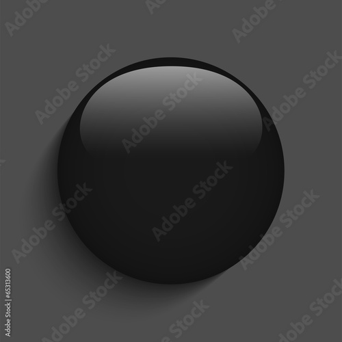 Black Glass Circle Button on White Background