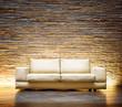 Modern style interior design. Leather beige sofa