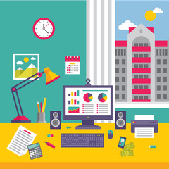 Business Office Workplace in Flat Design Style