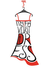Typography Design.Silhouette of woman dress from words