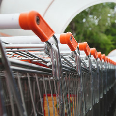 shopping carts near supermarket