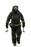 Firefighter with axe and wearing oxygen mask isolated on white