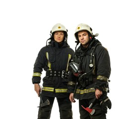 Two firefighter with axes isolated on white