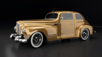 Studioaufnahme Oldtimer gold, 3D Render
