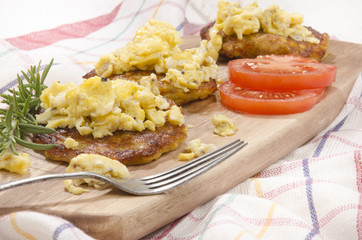 boxty irish pancake with scrambled egg