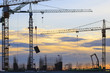 crane of building construction against beautiful dusky sky - 65316683