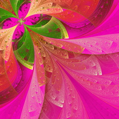 Beautiful fractal flower in green and pink. Computer generated g