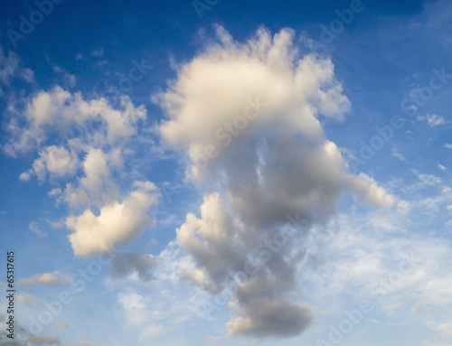 White clouds in the blue summer sky