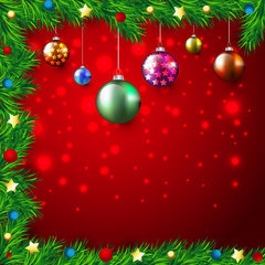 Christmas Colorful Background with lights and baubles