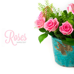 Rose flowers bouquet in vase on white background