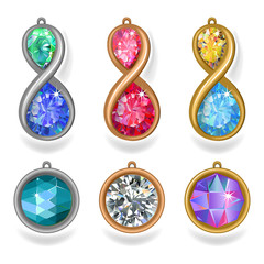 jewelry precious metal pendants and lavalieres with colored gems
