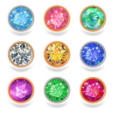 Fototapety Round shape top view bezel colored gems