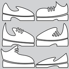 men's shoes of icons set