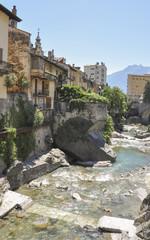 Chiavenna, historische Altstadt, Mera, Fluss, Sommer, Italien