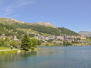 St. Moritz, Dorf, Schweizer Alpen, See, Graubünden, Schweiz