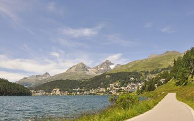 St. Moritz, Dorf, Spazierweg, See, Schweizer Alpen, Graubünden
